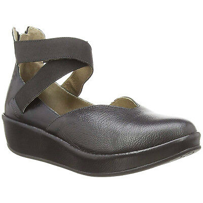sports shoes b4542 868da FLY LONDON BANE896FLY Mousse Leather Wedge Platform Mary Jane Womens Shoes