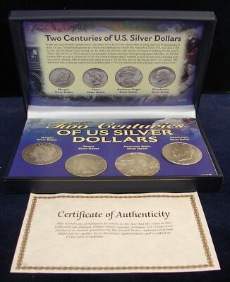 Two Centuries Of Us Silver Dollars Coa Morgan Peace Eagle Eisenhower