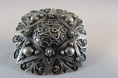 ANTIQUE ARABIC ISLAMIC SILVER BROOCH PIN FILIGREE North Africa Tunisia