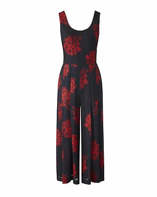 New Simply Be Womens Rose Printed Chiffon Jumpsuit
