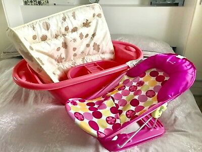 Pink baby bath mamas and papas changing mat and summer bathing chair
