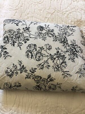 Ralph Lauren KING Fitted Sheet Black Roses Toile French Country Cottage Hill