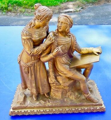 GRAND COUPLE ROMANTIQUE en BRONZE DORE  DE PENDULE  EPOQUE  LOUIS XVI ou EMPIRE