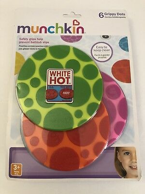 Munchkin White Hot Grippy Bath Dots - Slip Resistant Safe Pack of 6 Age 3 & Over
