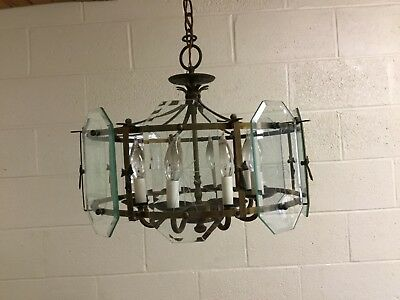Antique Nulco Mfg Brass Etched Beveled Glass Bow Accent Chandelier Light Fixture