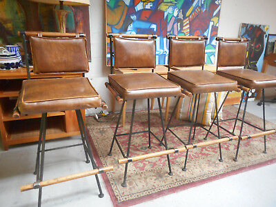 Cleo Baldon for Inca Mid Century Modern Bar Stools X 4 Iron & Oak Chairs 1970s