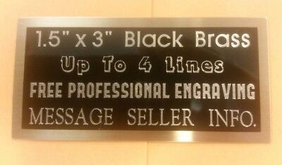 """Engraved Black Brass Plate, 1.5"""" x 3"""", FREE ENGRAVING plaque, award Personalized"""