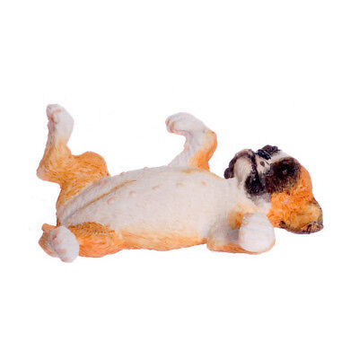 Last One! Boxer Puppy Back Rolling MINIATURE For Dollhouse or Fairy Garden 1:12