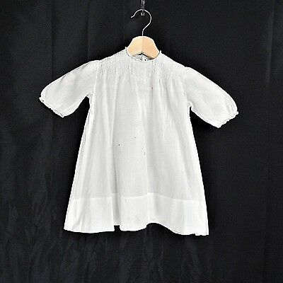 1940's Child's Hand Embroidered Handmade 0-3M Newborn Cotton Batiste Dress White