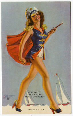 Patriotic '40s Zoe Mozert Mutoscope Card Navy Pin-Up Makes a Good Petty Officer