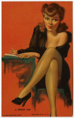 Earl Moran 1940s Art Deco Pin-Up Mutoscope Card A Sweet Job Risque Secretary NR