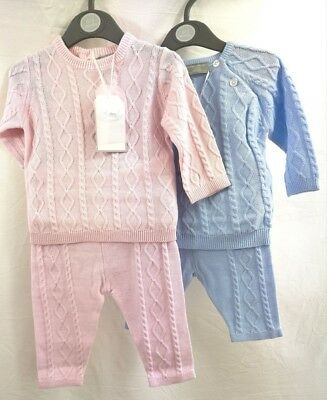 Spanish style baby Boy Girl knitted 2 Piece top and trousers set Blue Pink 0-9 m
