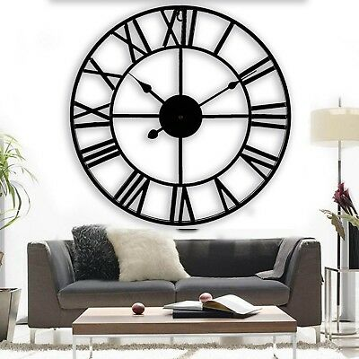 Skeleton Indoor Outdoor Garden Wall Clock Roman Numerals Giant Open Face Metal