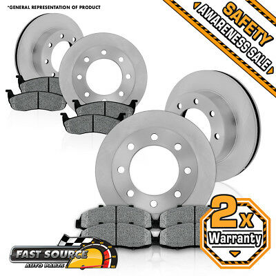 Front and Rear Brake Disc Rotors + Metallic Pads Kit 1999 FORD F250 F530 4X4 4WD