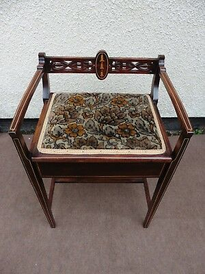 Antique Inlaid Mahogany Piano Stool, Dressing Table Stool, Circa 1900 / 1910.
