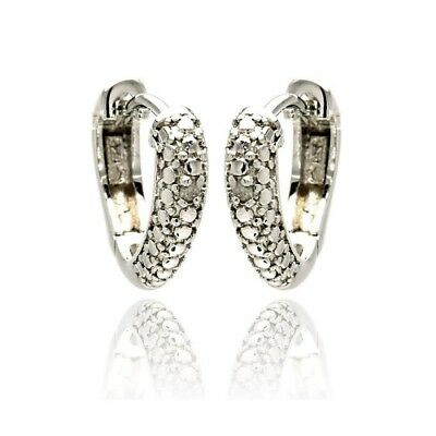 Womens Sterling Silver 925 Rhodium Plated Round Clear CZ Heart Huggie Earrings