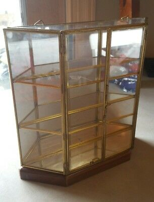 Curio Display Cabinet, Brass & Glass, Mini, Vintage in Excellent Condition