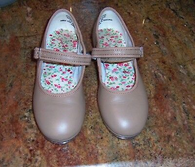 Capezio Tan Mary Jane Tap Shoes Girls 1M Youth Kids Strap Dance Hook Loop EUC