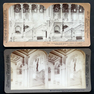 2 ANTIQUE Vintage US LIBRARY OF CONGRESS / WASHINGTON DC Stereoview Cards