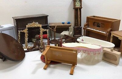 Broken Wooden Dollhouse Furniture for Parts Repair Lot Colonial Desk Table 1:12