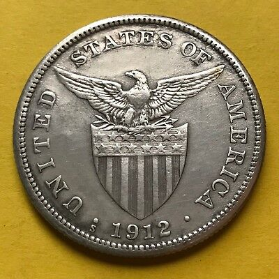 Us Philippines One Peso 1912-S Semi-Key Date #267
