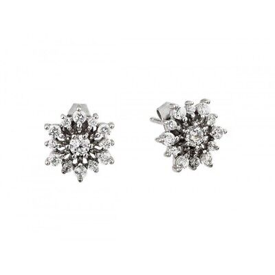 Womens Sterling Silver 925 Rhodium Plated CZ Star Earrings