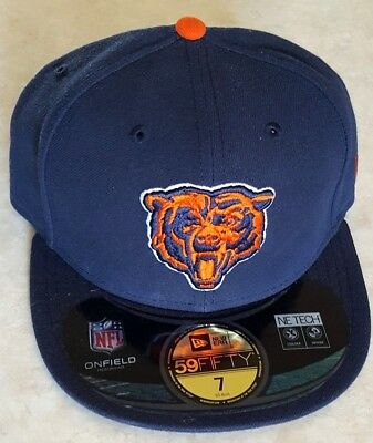CHICAGO BEARS Hat New Era 59 Fifty Size 7 Cap Blue GSH On Field Embroidered c523b39f7