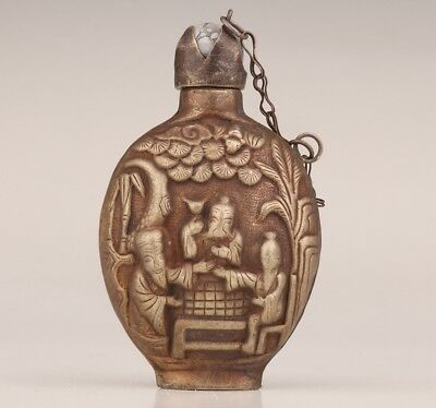 Valuable Chinese Copper Snuff Bottle Embossed Old Man Chess Handicraft Collec