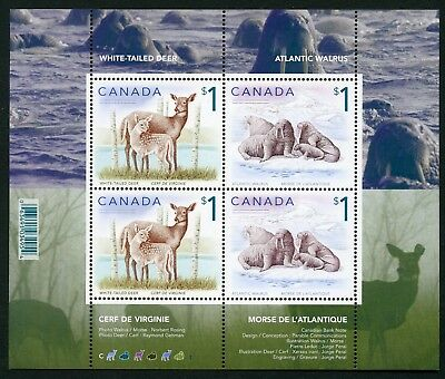 Weeda Canada 1689b VF MNH S/S of 4, Deer/Walrus 2005 $1 high values CV $10