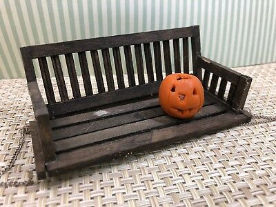 Dollhouse Furniture Rustic Hanging Porch Swing Jack O'lantern Halloween Spooky
