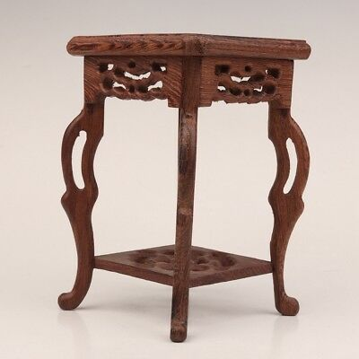 Advanced Wood Vase Shows Base Bracket Stand Old Four Legs Hand Carved Flower