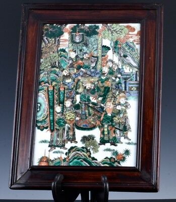 SUPERB c1800 CHINESE JIAQING FAMILLE ROSE IMPERIAL FIGURES LANDSCAPE WALL PLAQUE