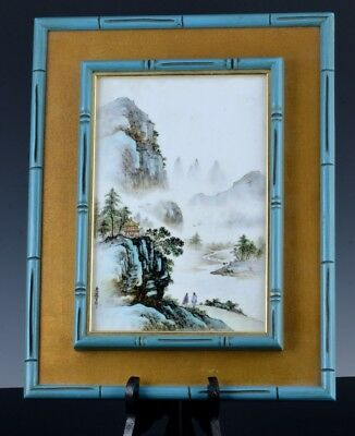 Very Fine Chinese Famille Rose Enamel Porcelain Wall Plaque Artist Signed