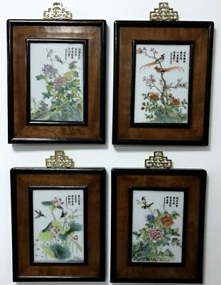 Very Fine Chinese Famille Rose Bird Landscape Wall Plaques Burled Frames Signed