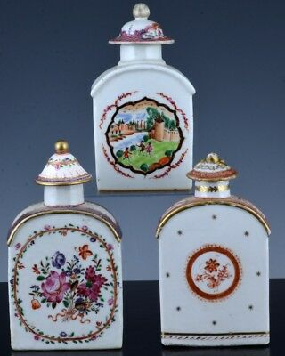 Estate Coll. 3 Rare 18Thc Chinese Qianlong Famille Rose Tea Caddy Jars