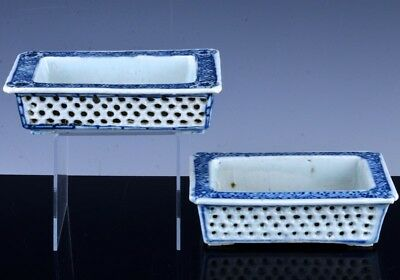 FINE ANTIQUE EARLY 19c CHINESE BLUE WHITE RETICULATED DOUBLE WALL PLANTER VASES