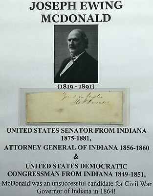 1800s SENATOR INDIANA 1860s ATTORNEY GENERAL CONGRESSMAN AUTOGRAPH SIGNED VG !