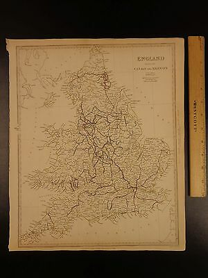 1844 BEAUTIFUL Huge Color MAP of England Great Britain Railroads Canals ATLAS