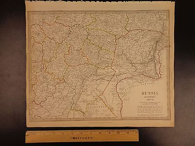 1844 BEAUTIFUL Huge Color MAP of Southeast Russia Europe Moscow Astrakhan ATLAS