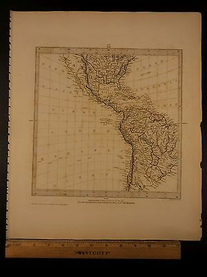 1844 BEAUTIFUL Huge Color MAP of North and South America Mexico Caribbean ATLAS