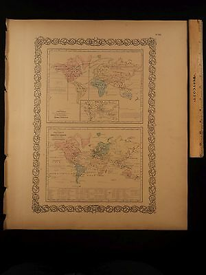 1855 1st COLTON Atlas Color Map World Statistics Population Size Industry 14x17i