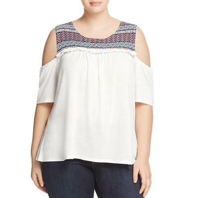 bd52a76bf2993 Love Scarlett Womens White Cold Shoulder Peasant Top Shirt Plus 2X BHFO 7796