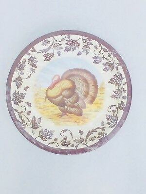 NEW Spode WOODLAND Turkey Coated Paper Dinner Plates 8 Count Thanksgiving