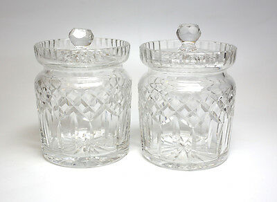 Pair of Waterford Hand Cut Crystal Condiment Jars in Lismore Pattern c1960