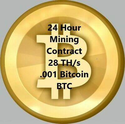 24 hour BITCOIN Crypto Coin Mining Contract Speed 1 TH/s .001 BTC