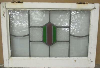 "MID SIZED OLD ENGLISH LEADED STAINED GLASS WINDOW Cute Geometric 24.75"" x 17"""