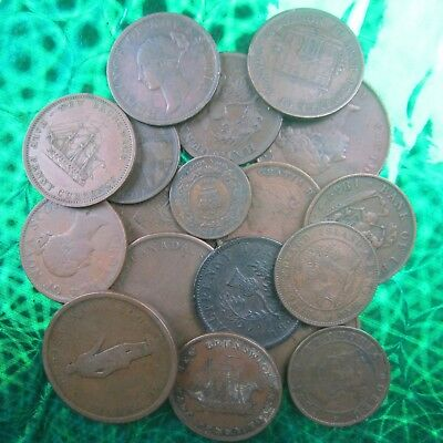 Lot of Eighteen (18) 19th Century Canadian Coins & Tokens ~ Eastern Canada