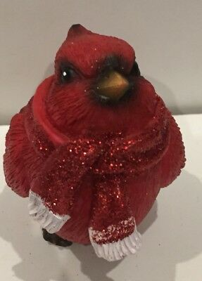 Cardinal Christmas Red Bird Figurine Glitter Red Scarf