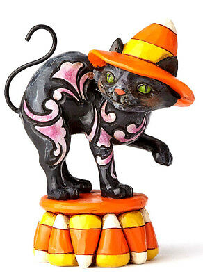 Jim Shore~Black Candy Corn Cat Mini Figurine~Witch Hat~Nib~Halloween~4058850
