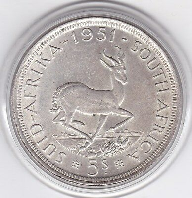 1951  South  Africa   Large Crown / Five Shilling Silver  Coin